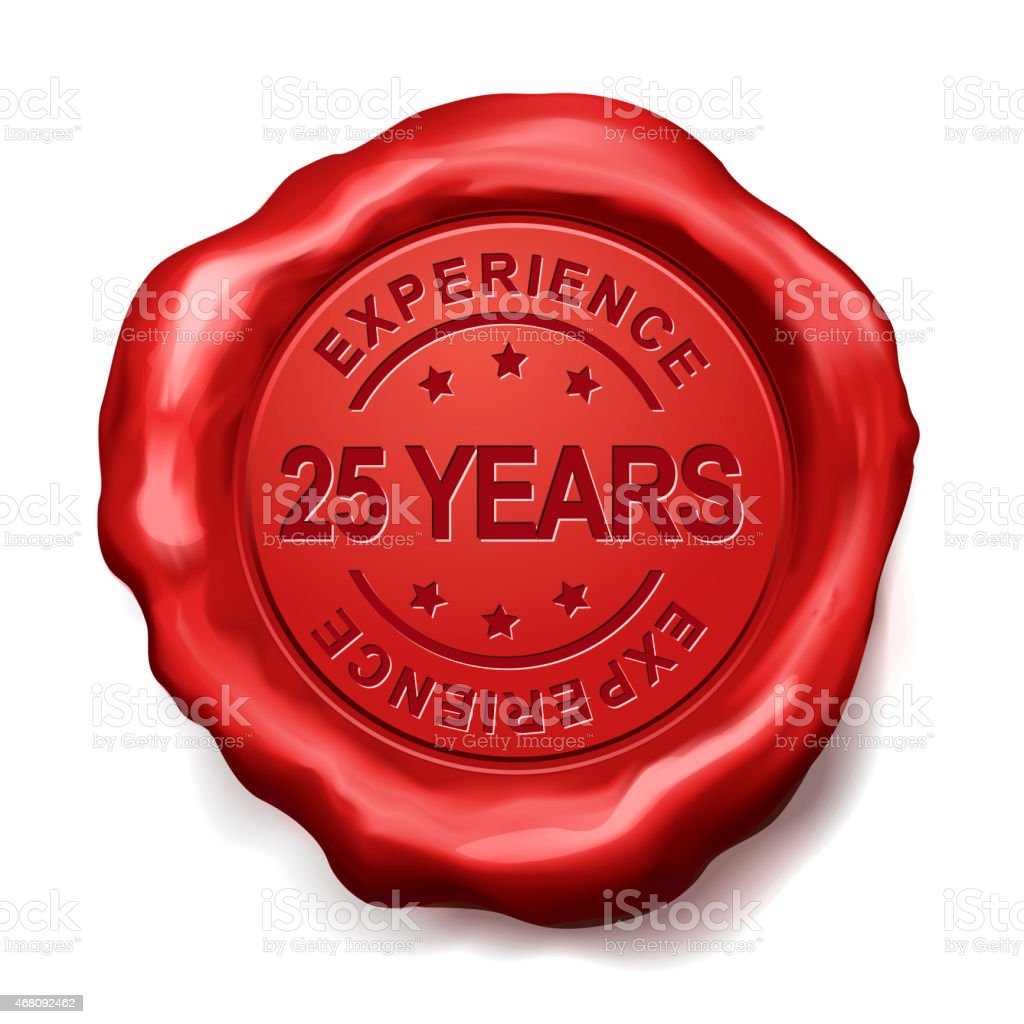 25 years red wax seal stock photo