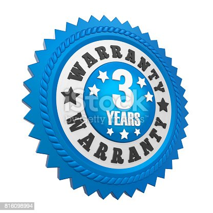 istock 3 Years Warranty Badge Isolated 816098994