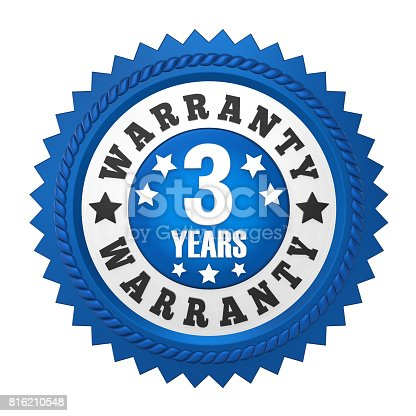 istock 3 Years Warranty Badge Isolated 816210548