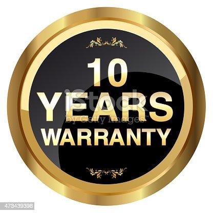 istock 10 years warranty gold badge - Stock Image 473439398