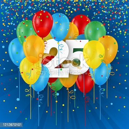 178269167 istock photo 25 years with colorful balloons 1212670101