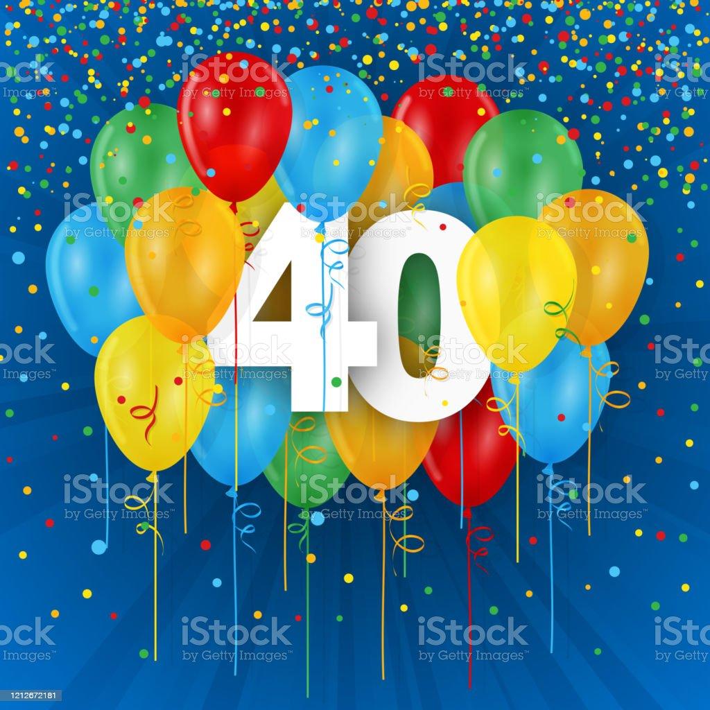40 Jahre Mit Bunten Luftballons Stockfoto und mehr Bilder ...