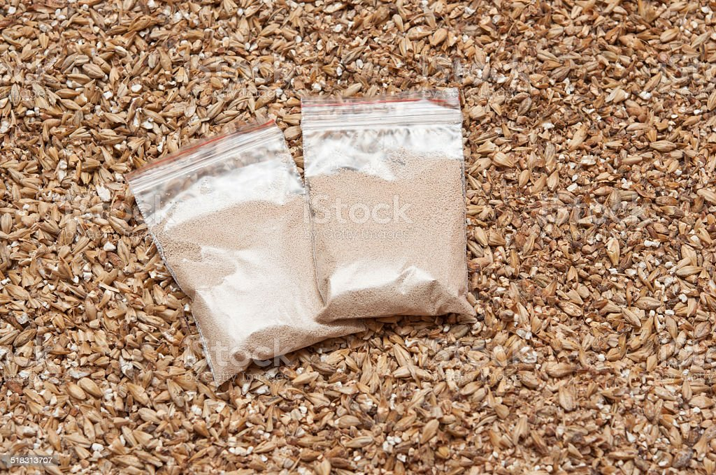 yeast and malt an ingredient for beer. stock photo
