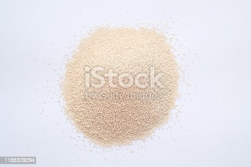Yeast in white background