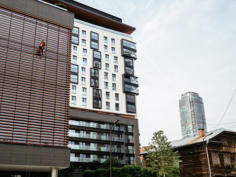 Yekaterinburg, Russia, August 13, 2019: Kandinsky Residential complex is located in the heart of Yekaterinburg at the intersection of Engels and Gogol streets