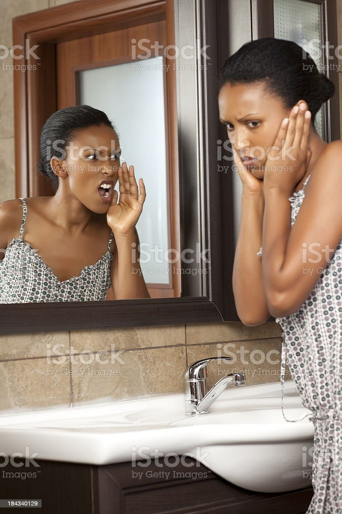 Yelling at herself. royalty-free stock photo