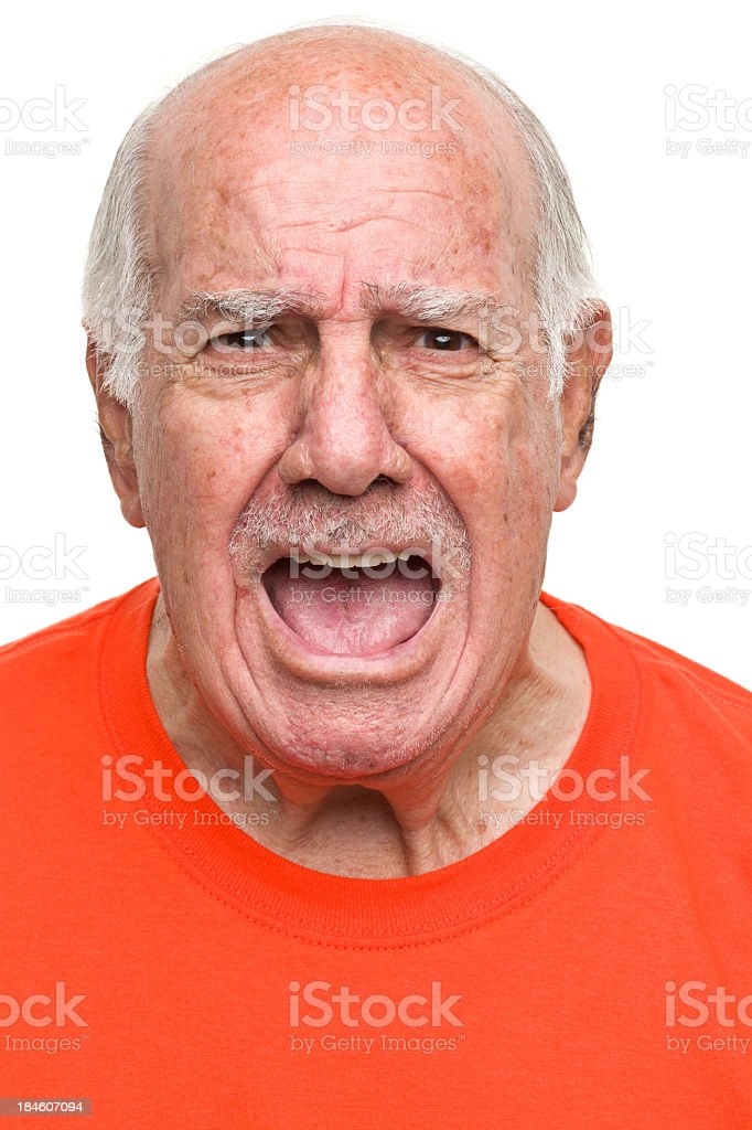 Yelling Senior Man stock photo