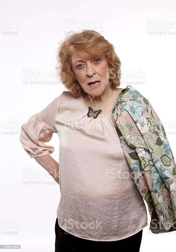 yelling senior woman stock photo