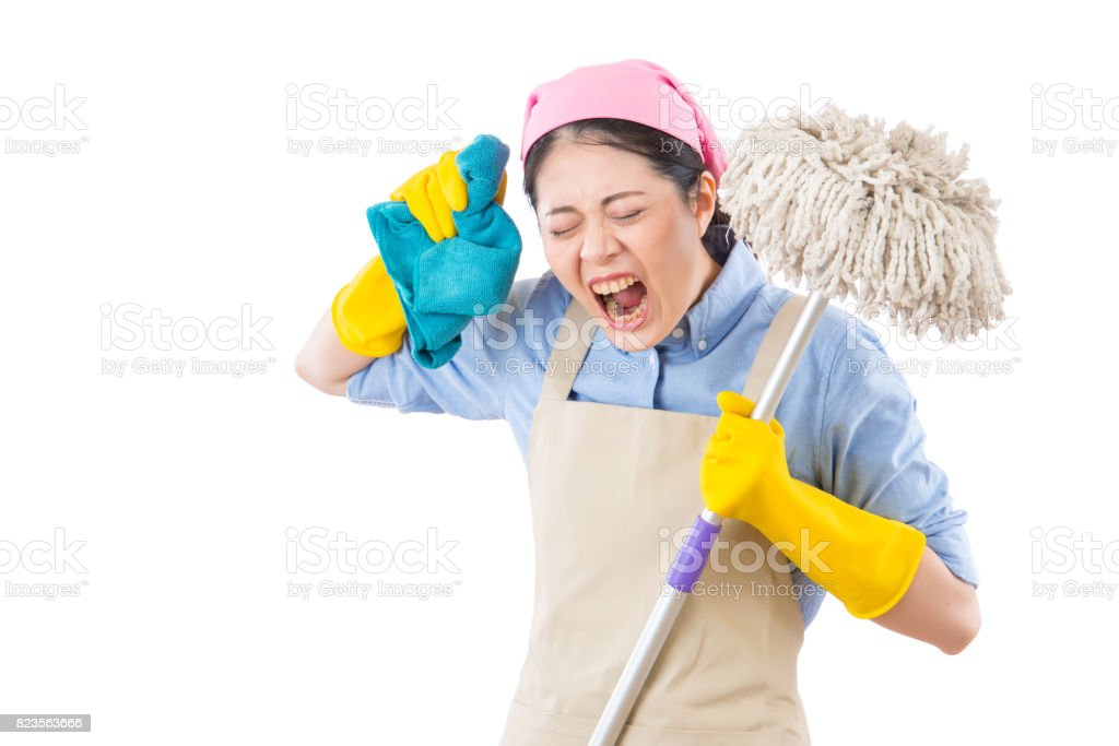 yelling young crazy angry housewife stock photo