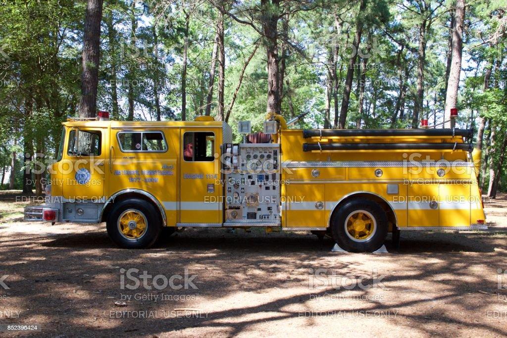 Yellow 1977 Mack/KME pumper stock photo