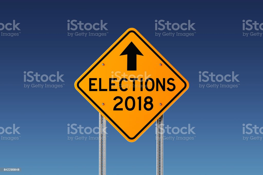 Yellow 2018 Elections Ahead Traffic Sign on Blue Sky stock photo