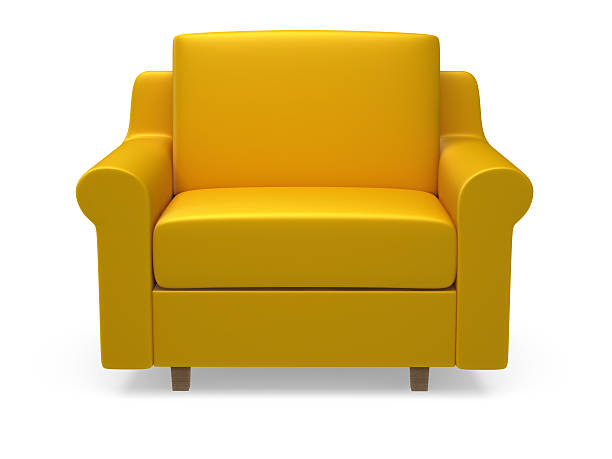 Yellow 3d armchair on white background Armchair armchair stock pictures, royalty-free photos & images