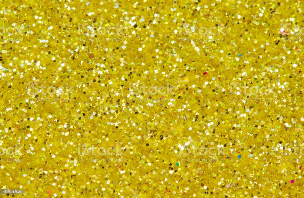 Yellow Abstract Background Gold Glitter Closeup Photo