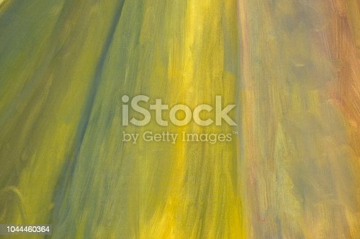 istock Yellow Abstract oil paint texture on canvas, background 1044460364