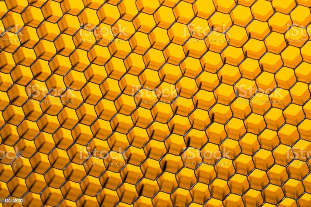 Yellow abstract texture honeycomb. stock photo