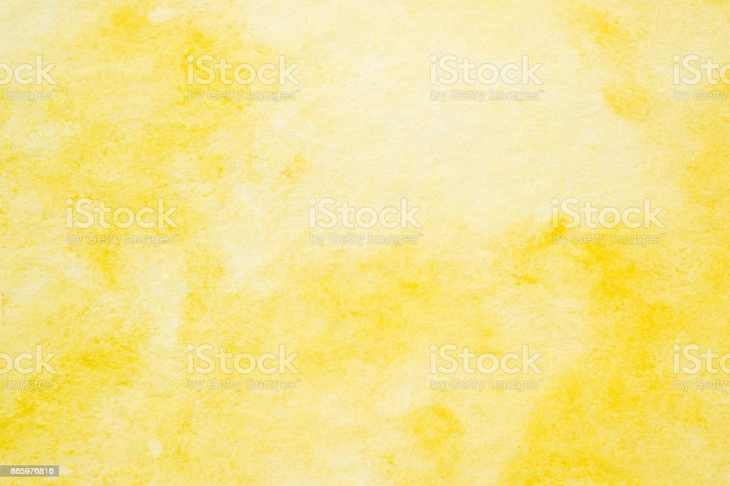 Yellow abstract watercolor painting textured on white paper background stock photo