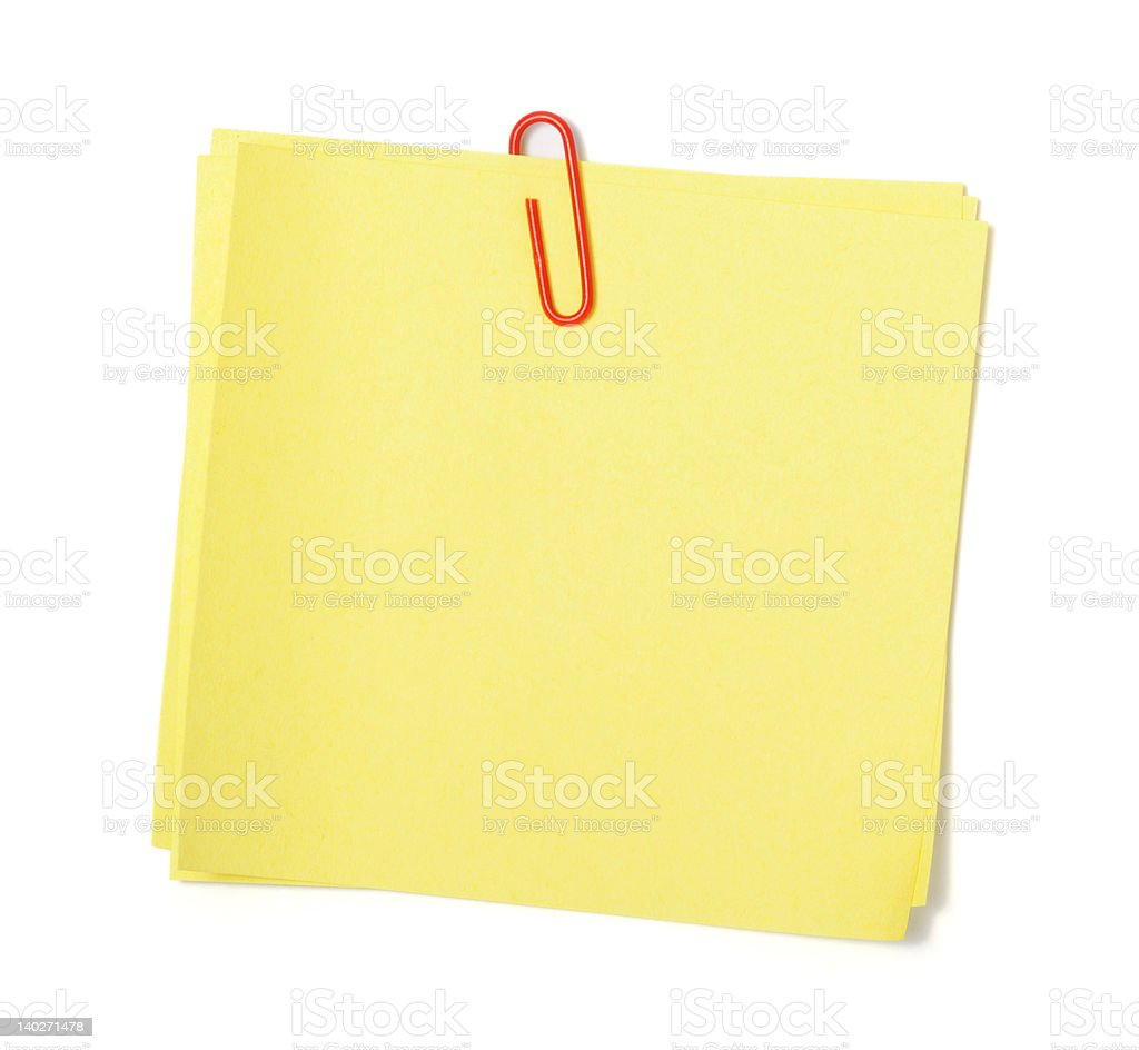 Yellow adhesive note royalty-free stock photo