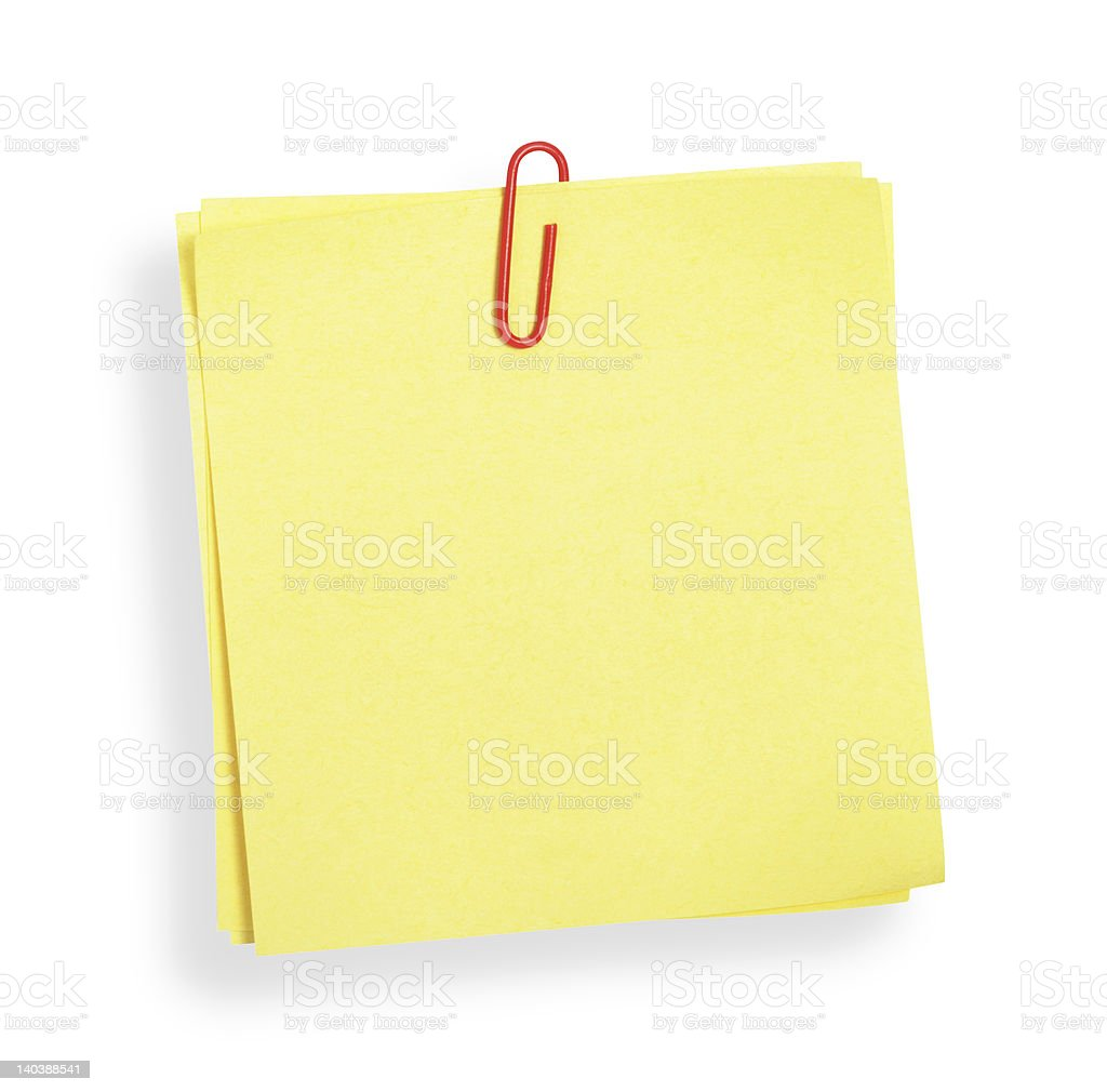 Yellow adhesive note(with clipping path) royalty-free stock photo