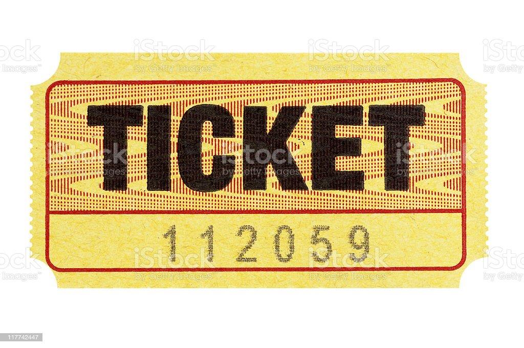Yellow admission ticket stock photo