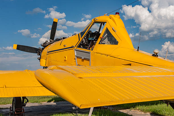 Yellow agricultural aircraft ready to fly