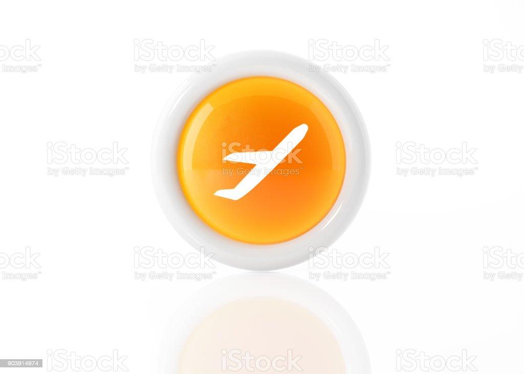 Icône jaune avion avec cadre blanc sur fond blanc - Photo