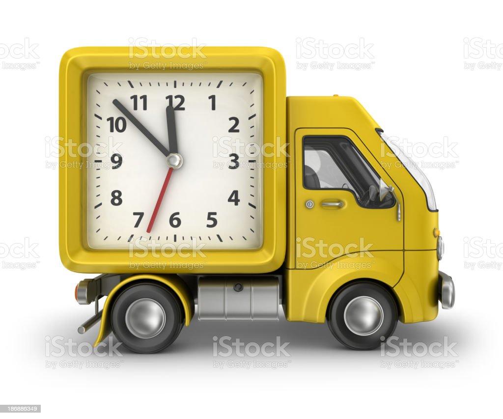 yellow alarm clock delivery van royalty-free stock photo