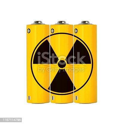 istock Yellow alkaline AA batteries with radioactive sign 1157114795