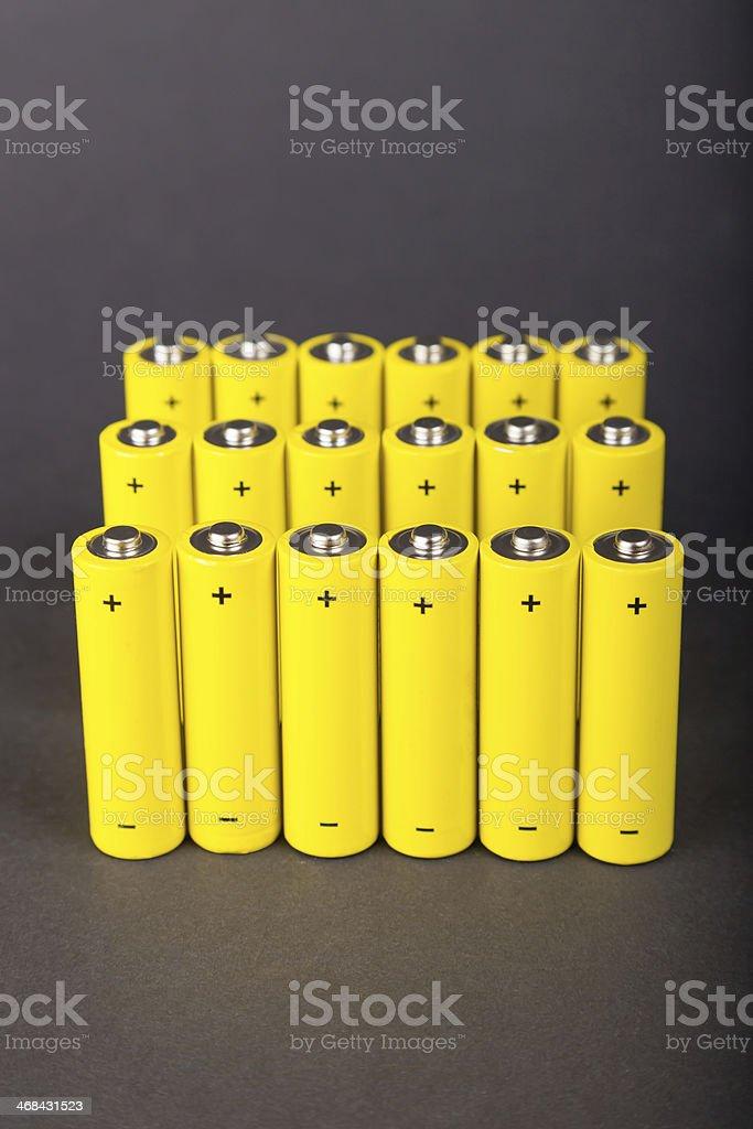Yellow alkaline batteries stock photo