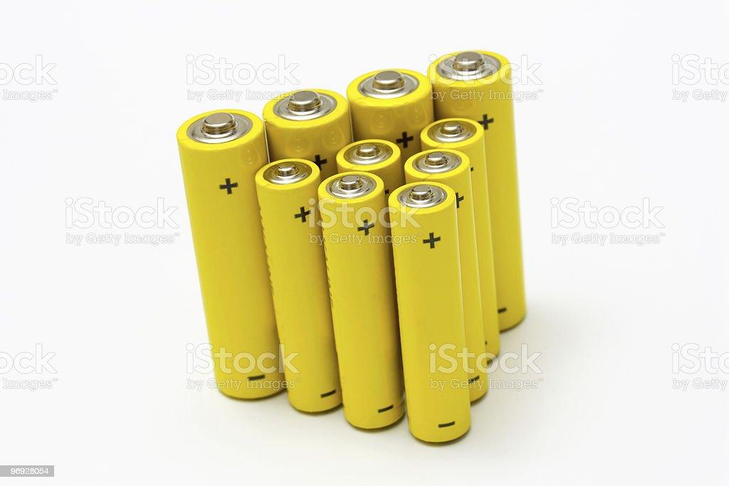 yellow alkaline batteries royalty-free stock photo