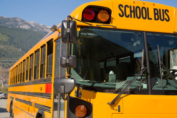 yellow american schoolbus background closeup - school bus stock photos and pictures