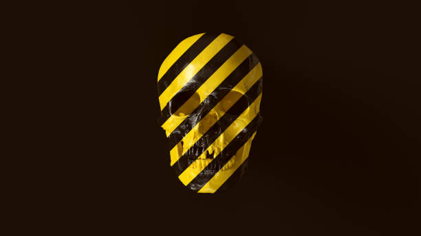 yellow and black chevron hazard pattern skull and jaw front - punk music stock photos and pictures