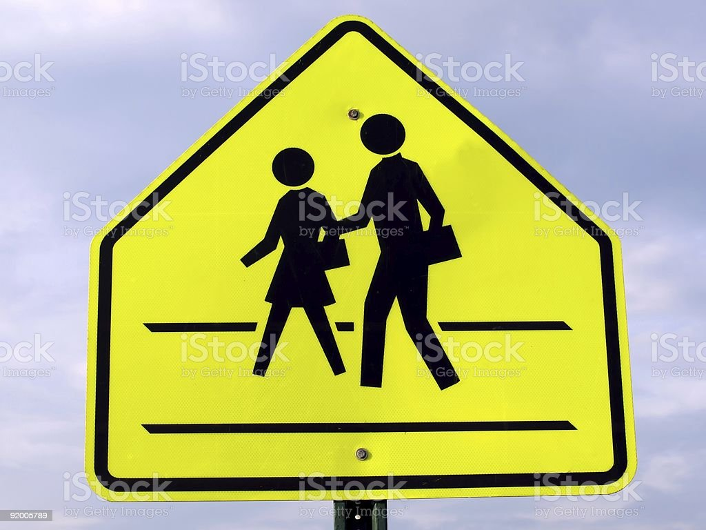 Yellow and black children school crossing sign royalty-free stock photo