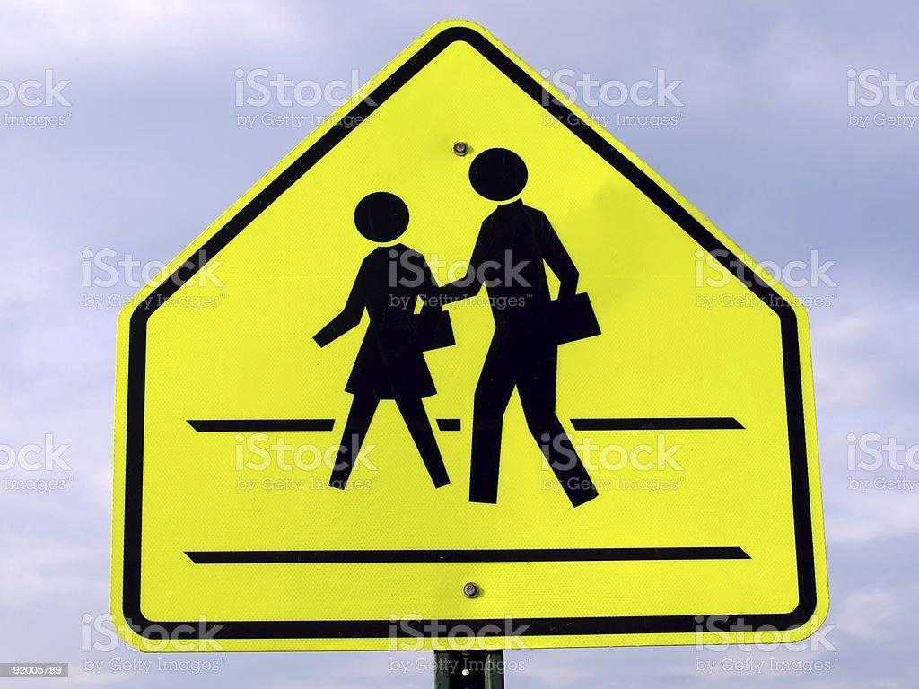 Yellow and black children school crossing sign stock photo