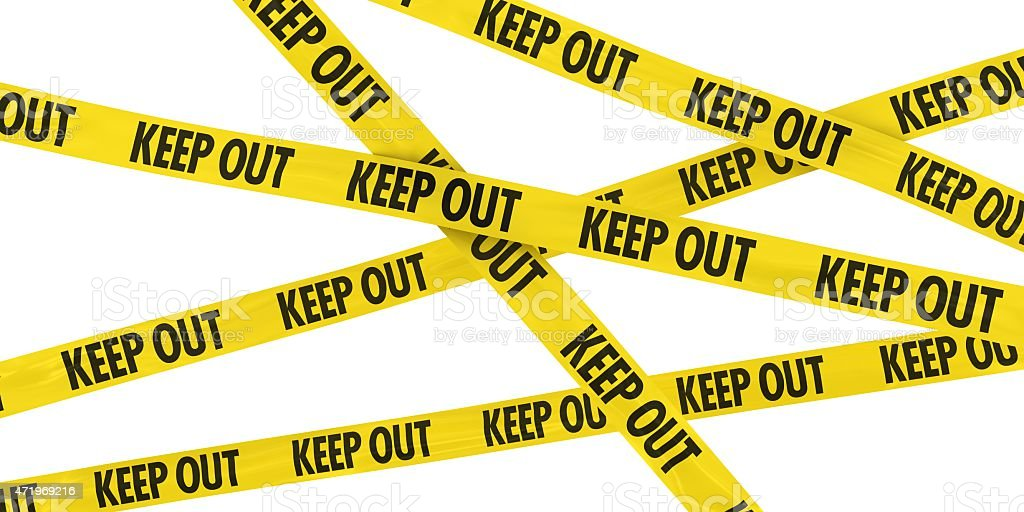 Yellow and Black KEEP OUT Barrier Tape Background stock photo