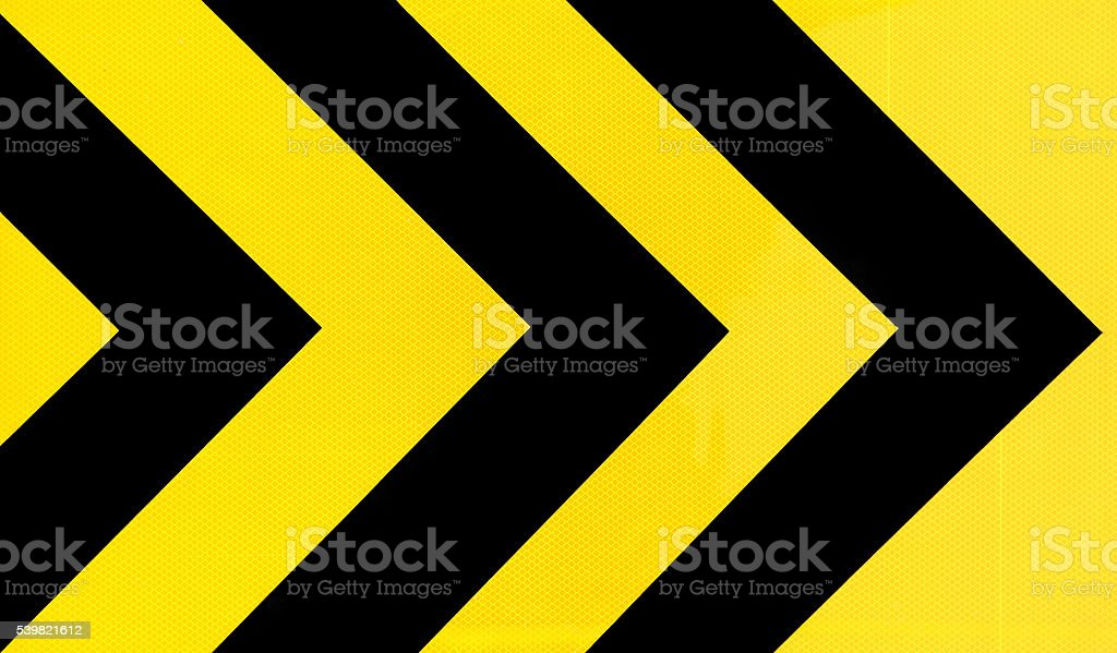 Yellow and black Traffic sign curve stock photo