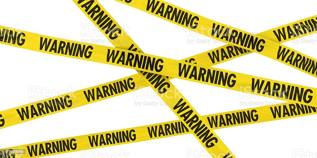 Yellow and Black WARNING Barrier Tape Background stock photo