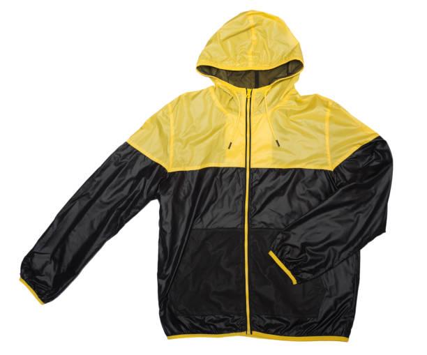 gelbe und schwarze windbreaker wasserdicht und regen beweis hoodies glänzende jacke durchgehender reißverschluss - zip hoodies stock-fotos und bilder