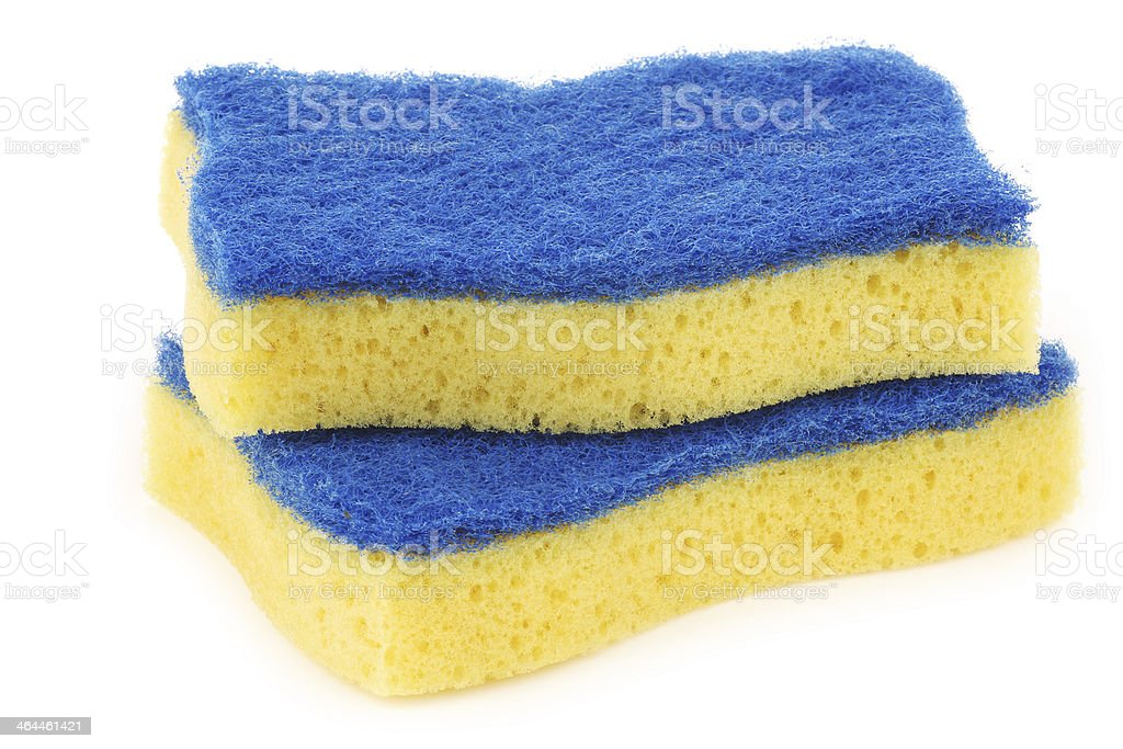 yellow and blue abrasive pads royalty-free stock photo