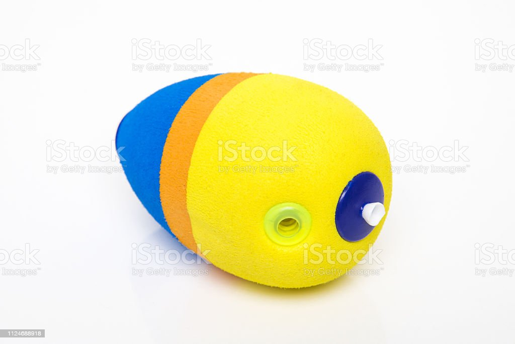 Yellow and blue bobber. stock photo