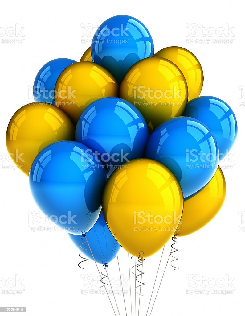 Yellow and blue party ballooons stock photo