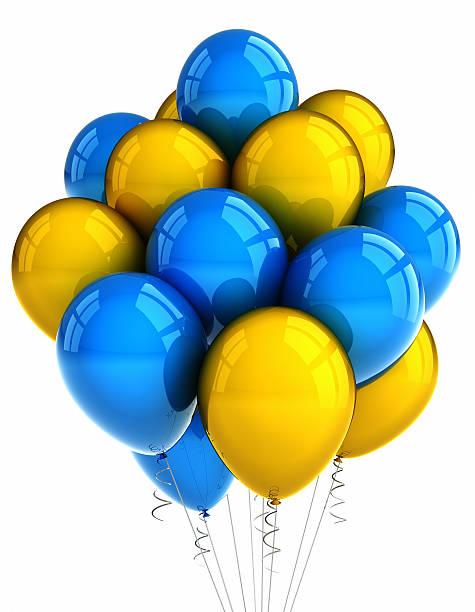 yellow and blue party ballooons - blue yellow band bildbanksfoton och bilder