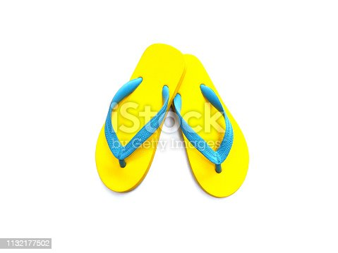 istock yellow and blue rubber flip flop 1132177502