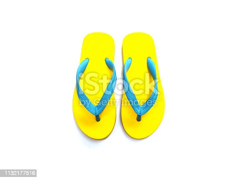 istock yellow and blue rubber flip flop 1132177516
