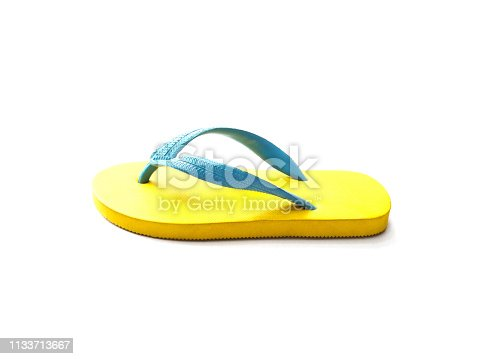 istock yellow and blue rubber flip flop shoes 1133713667