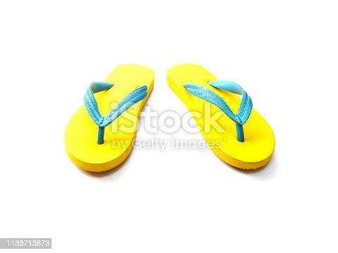 istock yellow and blue rubber flip flop shoes 1133713673