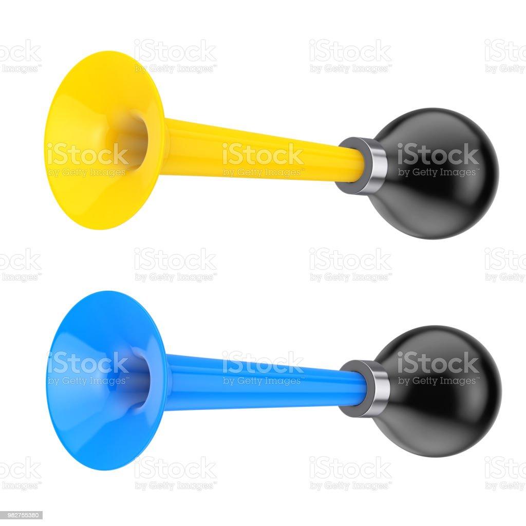Gelb und blau Vintage Fahrrad Drucklufthörner. 3D rendering – Foto