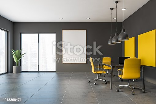 847512708 istock photo Yellow and gray meeting room with poster 1218368471