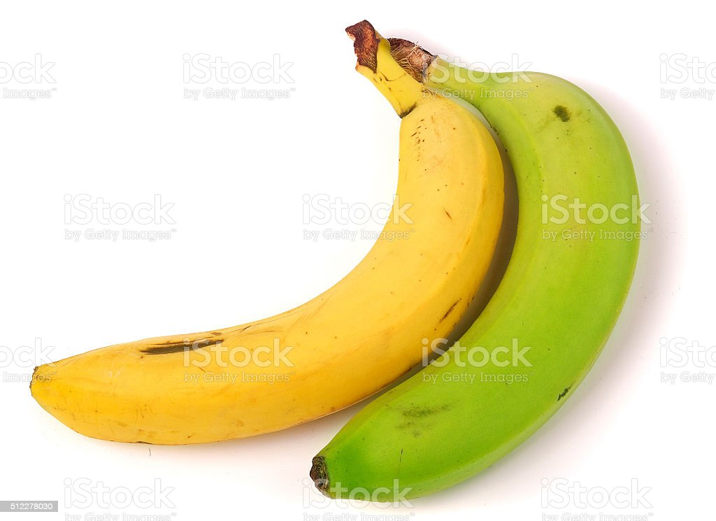 yellow and green banana isolated on white background stock photo