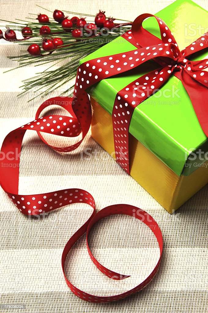 Yellow and green Christmas holiday present gift royalty-free stock photo