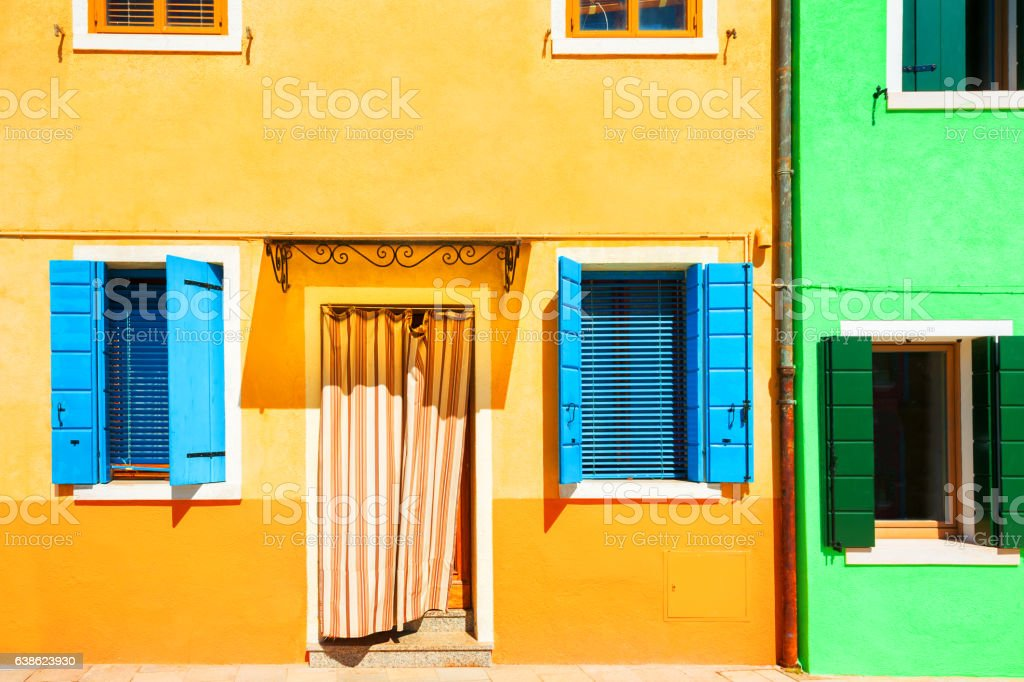 Yellow and green houses. stock photo